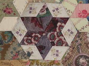 Hexagon using vintage fabrics