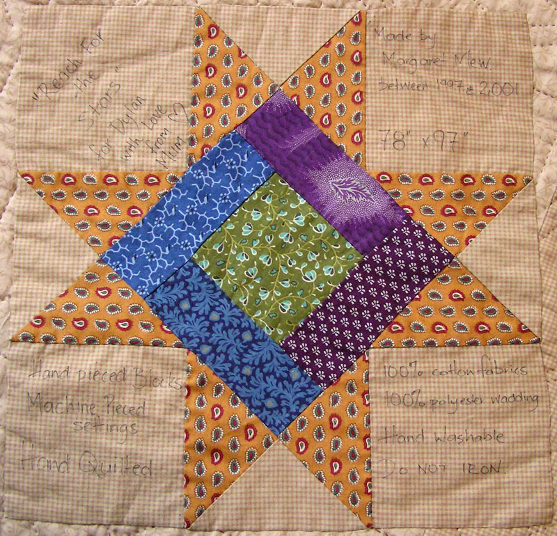 image of Dylan's quilt label