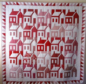 image of Judy's Red and White Schoolhouse quilt.