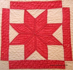 image of Red and White Quilt detail