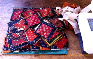 image of Cheddar and Indigo quilt in progress
