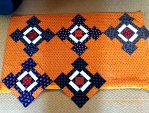 image of Cheddar and Inbdigo quilt blocks